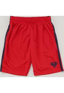 Bermuda Infantil Esportiva Super Homem Com Faixas Laterais Vermelha