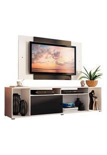 Rack Madesa Cancun E Painel Para Tv Até 58 Polegadas Branco/Preto 7373 Preto