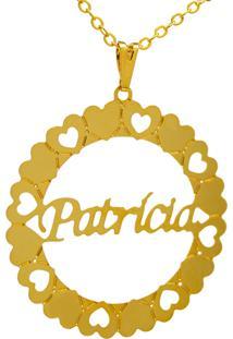 Gargantilha Horus Import Pingente Manuscrito Patricia Banho Ouro Amarelo - Amarelo - Feminino - Dafiti