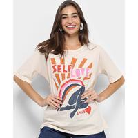 b56c6ceb29 Camiseta Cantão Estampa Self Love Feminina - Feminino-Bege+Rosa