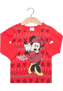 Camiseta Brandilli Minnie Disney Infantil Vermelho