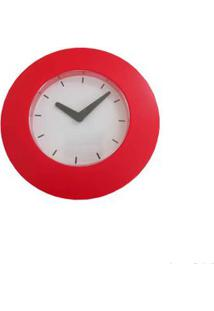 Relógio De Parede Em Plástico Ik606-W Vermelho Coisas E Coisinhas