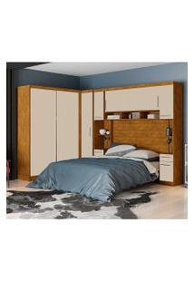 Dormitório De Casal Victória Robel S/ Espelho Nature Off White Robel Móveis