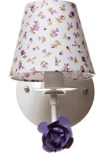 Arandela 1 Lâmpada Flor Quarto Bebê Infantil Menina Potinho De Mel Lilás