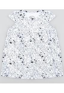 Vestido Infantil 101 Dálmatas Estampado Com Babado Manga Curta Off White