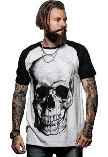 Camiseta Caráter Raglan Caveirão Branca