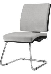 Cadeira Simple Assento Courino Cinza Claro Base Fixa Cromada - 54966 Sun House