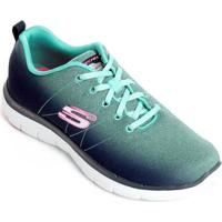 96651f7f542 Tênis Skechers Flex Appeal 2.0 Bright Side Feminino - Feminino-Azul+Verde  Água