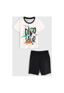 Pijama Abrange Curto Infantil Dinossauro Off-White/Preto