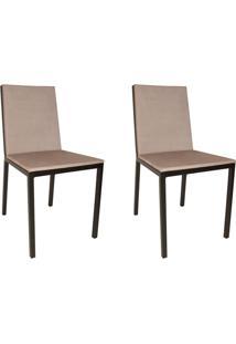 Conjunto Com 2 Cadeiras De Jantar Ingride Veludo Bege
