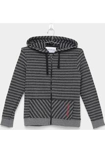 Jaqueta Infantil Calvin Klein Listrado Capuz - Masculino-Preto+Cinza
