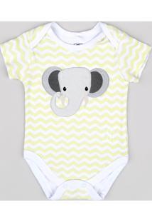 Body Infantil Elefante Estampado Chevron Manga Curta Branco