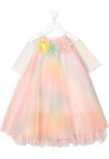 Pamilla Vestido Com Tule E Aplicação Floral - Laranja