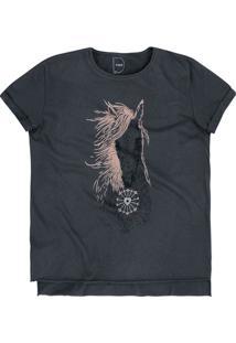 T-Shirt Em Malha De Algodão Com Barra Sem Costura