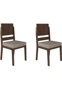 Jogo De 2 Cadeiras Esmeralda Noce Com Pena Caramelo Rv Móveis