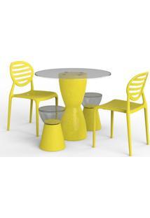 Conjunto De Mesa Com 2 Cadeiras E 2 Bancos | Banquetas Lounge I Amarelo