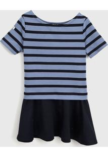Vestido Polo Ralph Lauren Infantil Listrado Azul-Marinho