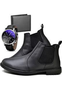 Botina Bota Fashion Com Carteira E Relógio Masculino Dubuy 258El Preto - Kanui