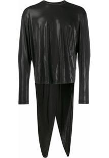 Comme Des Garçons Homme Plus Camisa Com Efeito Metalizado - Preto