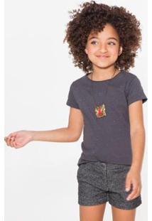Camiseta Infantil Gliter Reserva Mini Feminina - Feminino