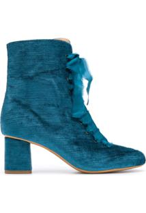 Forte Forte Ankle Boot Com Amarração - Azul