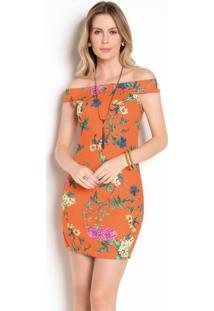 Vestido Tubinho Floral Laranja Ombro A Ombro