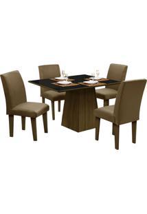 Mesa Para Sala De Jantar Com 4 Cadeiras Florença – Dôbue - Castanho / Preto / Castor
