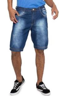 Bermuda Jeans Detalhe Puído Grupo Avenida Masculina - Masculino-Azul