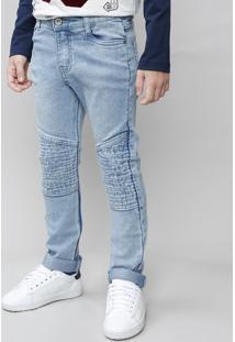 Calça Jeans Infantil Com Frisos Azul Claro