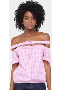 Blusa Lily Fashion Ombro A Ombro Xadrez Feminina - Feminino