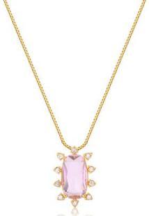 Colar Com Pedra Natural Rosa Rodeado De Zircônias Folheado Francisca Joias - Feminino-Dourado