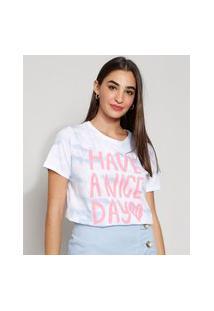 "Camiseta Feminina Manga Curta ""Have A Nice Day"" Decote Redondo Off White"