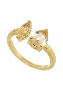 Anel Folheado A Ouro Com Zircônia & Cristal- Douradocarolina Alcaide