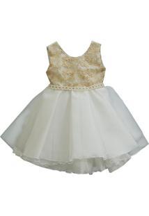 Vestido Infantil Festa Dourado E Creme - 1 Ao 3