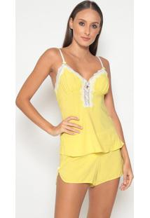 Short Doll Com Recorte- Amarelo & Branco- Fruit De Lfruit De La Passion