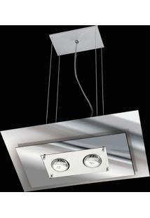 Pendente Saturno Aluminio E Vidro Lmr 140 Escovado Espelhado Bivolt