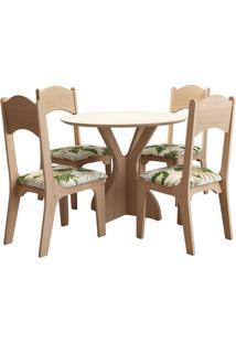 Mesa Nina Com 4 Cadeiras Natural/Floral Verde