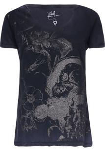 Camisetas Khelf Camiseta Feminina Floral Glitter Azul Marinho