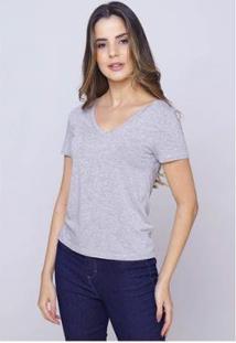 Camiseta Sob Gola V Manga Curta Feminina - Feminino-Cinza