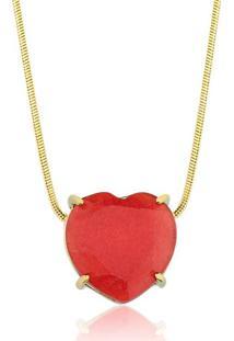 Colar Toque De Joia Coração Pedra Natural Jade Vermelha Ouro Amarelo