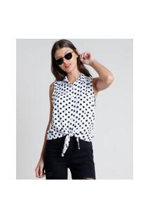 Camisa Feminina Estampada De Poá Com Nó E Bolso Sem Manga Branca