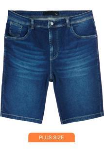 Bermuda Azul Escuro Jeans Estonada Com Bigodes