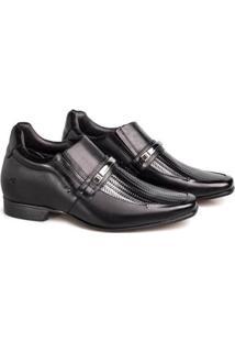Sapato Social Couro Rafarillo Masculino Tressê Bridão Salto - Masculino-Preto