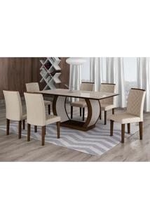 Conjunto De Mesa De Jantar Com Vidro E 6 Cadeiras Maia I Veludo Castor E Creme