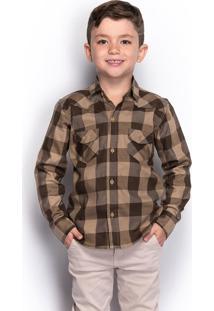 Camisa Social Infantil Menino Xadrez Manga Longa Casual - Kanui