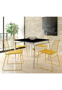 Mesa 1525 Cromada Preta Com 4 Cadeiras 1712 Color Uv Amarelo Ouro Carraro