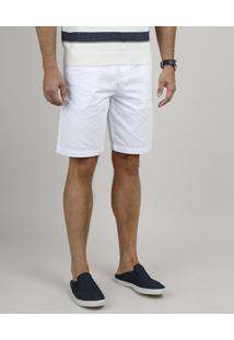 Bermuda De Sarja Masculina Reta Com Cordão Branca