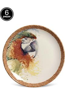 Conjunto 6Pçs Pratos De Sobremesa Porto Brasil Coup Parrots Branco/Verde