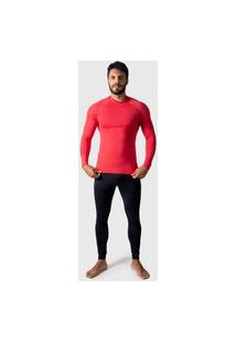 Camisa Térmica Adulto Masculina Segunda Pele Praia Surf Proteçáo Uv Esportiva 4 Estações Vermelho