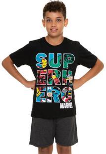 Pijama Curto Juvenil Menino Avengers